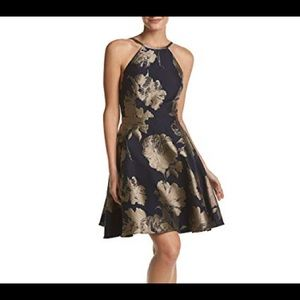 Xscape Gold and Navy Dress